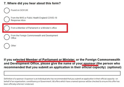 Screenshot of approval applications, showing Applicants for approval are asked whether they have a 'sponsor' who is a 'Member of Parliament or Minister' and to name them.