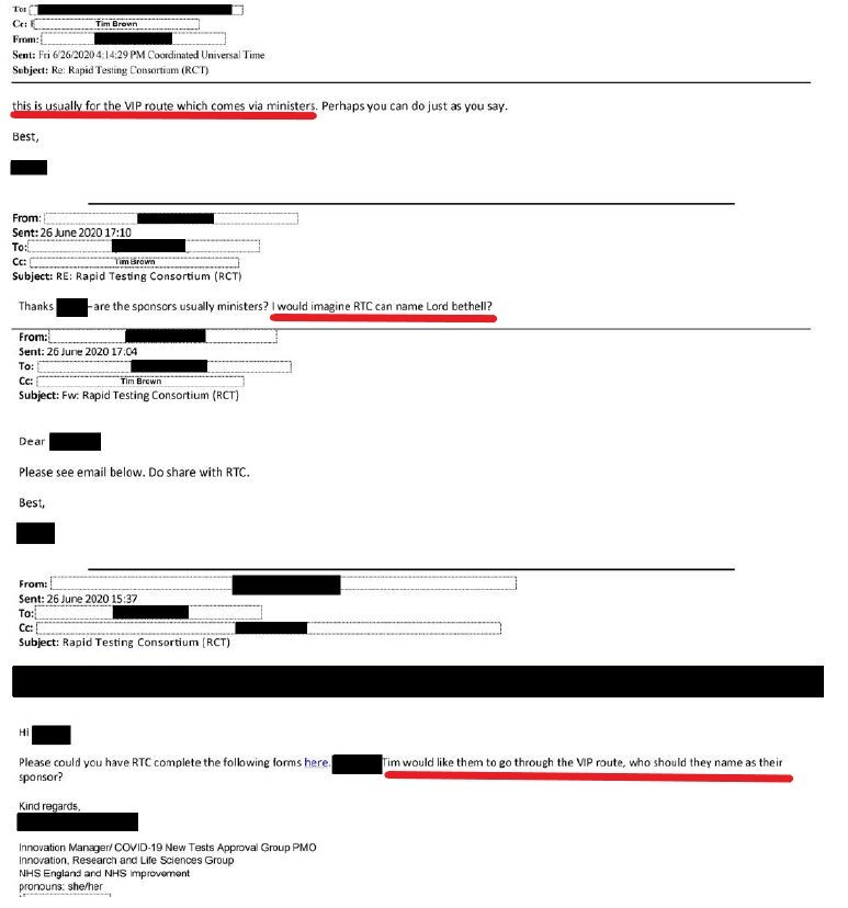 email chain showing Lord Bethell as
